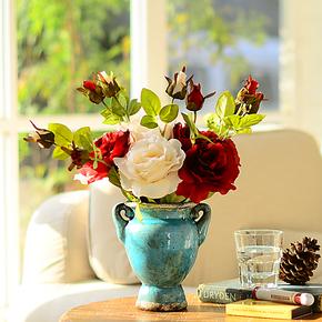 奇居良品古典玉石玫瑰高档仿真花配陶瓷马特花瓶整体花艺套装特价