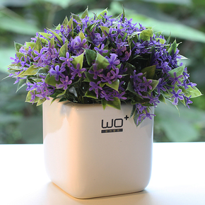 包邮 wo+高档仿真花艺陶瓷花盆配紫罗兰套装家居装饰摆件花卉简约