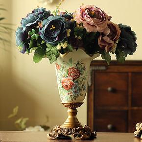 欧式仿真花绢花家居装饰花花艺套装 4束复古把束山茶花+彩绘花瓶
