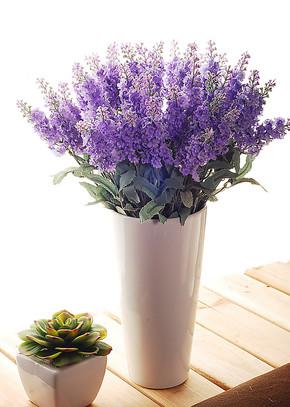 诺美人气现货爆款 10头薰衣草仿真花卉+花瓶 假花装饰花绢花套装