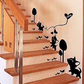 房间装饰墙贴纸 卧室可爱浪漫 家居饰品小猫创意楼梯玄关墙壁贴纸