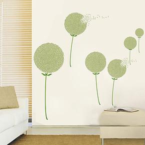 凡菲墙贴 蒲公英 客厅沙发 背景墙贴纸 防水可移除墙贴 装饰贴画