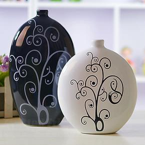 厂家直销!现代家居装饰品/时尚家饰摆件 个性陶瓷花瓶/黑白任选