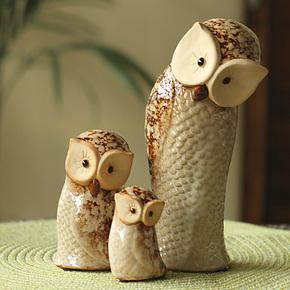 欧式家居装饰品镇宅风水陶瓷摆件摆设结婚礼物猫头鹰一家三件套
