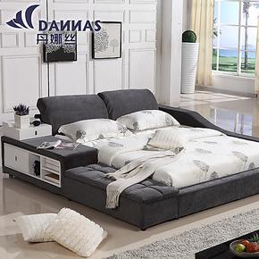 丹娜丝时尚现代简约布艺床 日式榻榻米床 双人床可拆洗布床结婚床
