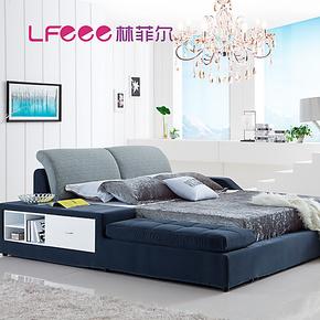林菲尔 时尚储物功能布床 双人床1.8米软床 榻榻米床布艺床91507