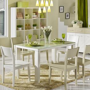 现代简约钢化玻璃餐桌椅组合 实木腿饭桌子 小户型烤漆餐台 特价