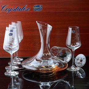 新品特价 捷克波西米亚水晶酒具 7件套 1醒酒器+6红酒杯 红酒酒具