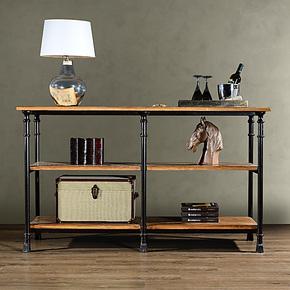 奇居良品 工艺风复古汉尼顿实木家具 松木+铁艺 3层玄关柜 餐边柜
