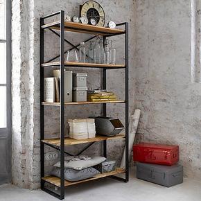 艺难忘loft美式乡村仿古做旧铁艺餐边柜厨房置物架实木复古隔板架