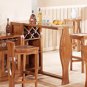宅家乌金木实木酒吧桌吧台吧台椅吧台凳组合现代简约特价7806