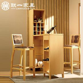 联一家具实木吧台桌吧椅 客厅酒柜现代时尚实木吧凳家用吧台桌