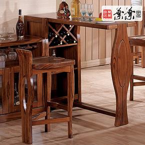 叶叶 乌金木吧台 吧凳 吧椅 斑马木 现代中式 高端纯实木家具w032