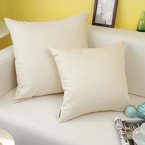 艾沫_米白色抱枕靠垫靠枕_靠垫套抱枕套_床头沙发纯棉纯色_米色
