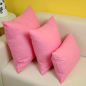 艾沫_纯意-粉色抱枕靠垫靠枕_靠垫套抱枕套_床头沙发纯棉布艺纯色