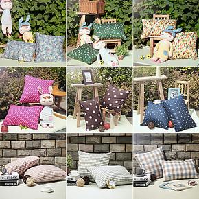 慢漫抱枕纯棉沙发垫靠枕布艺床头靠背办公座椅靠垫套 多色可选