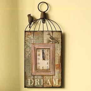 美式乡村家居饰品装饰品复古仿古做旧工艺品钟饰 小鸟铁艺挂钟