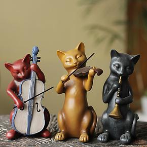 美式乡村家居装饰品树脂摆件结婚礼物客厅婚庆摆设 三只猫乐队