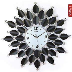 天伟达 欧式钟表铁艺挂钟创意时尚静音客厅时钟复古挂表美式壁钟