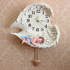 朵兰舍 正品欧式田园睡梦天使BB树脂摇摆挂钟 创意礼品 钟表壁饰