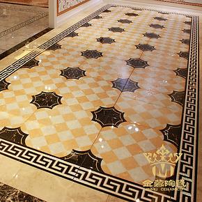 金慕韩式镀金抛晶砖艺术砖/抛金砖/餐厅客厅走廊过道瓷砖600X600