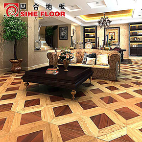 预售 新品 拼花 四合多层实木复合地板 白栎与筒状非洲楝SHPH-A07