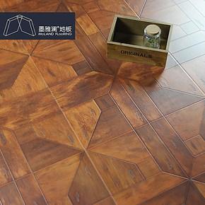墨雅澜新品 强化复合地板 仿古艺术拼花地板1200*400*12 厂家直销