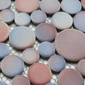 小马哥 粉蓝色陶瓷马赛克 地中海田园自由石 室外花园庭院地板砖
