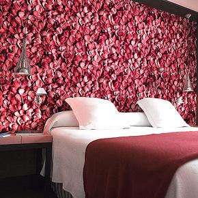 锦尚添花 玫瑰花瓣 婚房 温馨卧室 浪漫 PVC墙纸 电视墙背景壁纸
