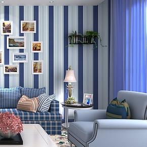歌诗雅无纺布墙纸现代简约客厅卧室蓝白竖条纹壁纸 13地中海