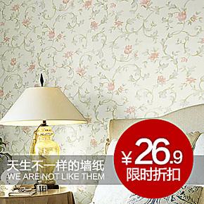 泰瑞粉色田园小花墙纸 温馨浪漫田园客厅卧室背景墙环保满铺壁纸