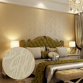 T藤格先生 微发泡 无纺布壁纸 欧式大马士革 客厅卧室背景墙纸 QX