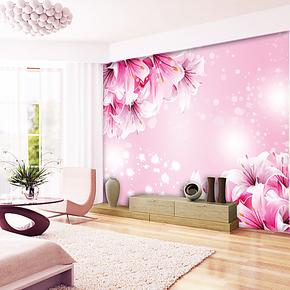 蕊西高档卧室背景墙纸壁纸 田园风格温馨粉色大型壁画 超立体壁画