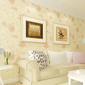 慕勒壁纸 美式田园花朵壁纸 卧室客厅沙发背景纱线无纺布墙纸特价