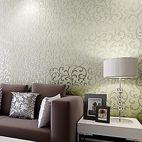 【预售】玉兰墙纸无纺布植绒珠光进口环保客厅卧室背景墙纸