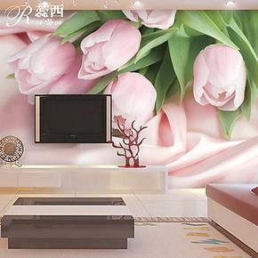 蕊西 浪漫卧室背景墙纸壁纸 温馨粉色郁金香大型壁画 PVC自粘墙纸