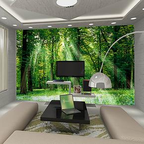 电视客厅壁纸 卧室背景墙自粘墙纸 现代中式绿色森林风景大型壁画