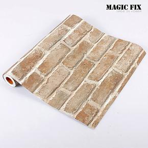 Magic fix韩国自粘环保PVC墙纸壁纸 砖纹卧室厨房防水墙贴纸HWP13