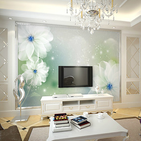 逸素客厅电视背景墙纸壁纸 电视 墙 背景 卧室 温馨大型壁画花香