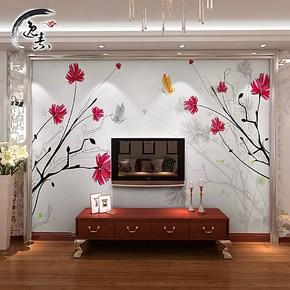 逸素 客厅电视背景墙纸壁纸 电视 墙 背景 卧室 温馨大型壁画依恋
