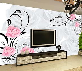 大型壁画 电视墙背景墙纸壁纸 客厅卧室影视 背景 素雅玫瑰