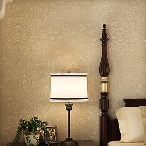 将旗纯纸壁纸 欧式美式复古大马士革壁纸 卧室客厅背景墙墙纸