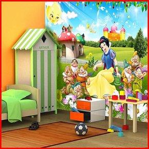 B大型壁画儿童房壁纸墙纸画卧室背景电视墙自粘环保特价白雪公主