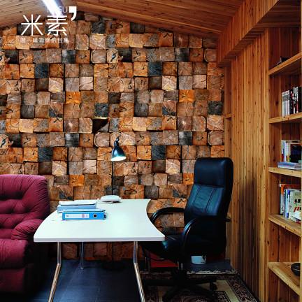米素大型壁画 木头卧室电视背景墙纸壁纸 美式乡村客厅壁纸 老屋