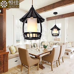 原生态实木吊灯 美式乡村复古单头餐厅吧台吊灯 创意酒吧工程灯具