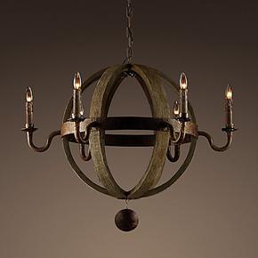 美式乡村田园风格个性创意客厅餐厅卧室饭厅木艺球形吊灯灯饰灯具
