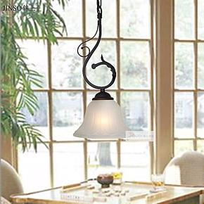 锦上 欧式古典浪漫铁艺单头吊灯吧台灯玄关灯餐厅创意灯3090-1P
