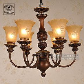圣玛美式卧室吊灯菠萝艺术创意卧室灯灯具六头欧式餐厅灯吊灯灯饰