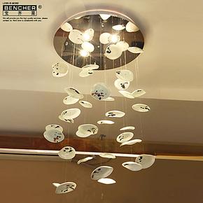 宝齐莱 创意吊灯 时尚艺术吊灯 荷叶灯 设计灯 个性灯饰 水墨初荷