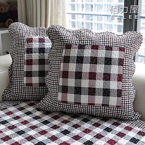 佰力屋 沙发坐垫沙发抱枕靠垫套绗缝皮沙发垫布艺纯棉抱枕套抱
